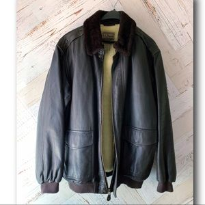 XL Tall  LL Bean Leather Bomber